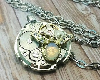 Steampunk Bee Watch Movement Necklace Steampunk Gift for Her Pocket Watch Gear Jewelry Victorian Industrial Visual Kei Costume