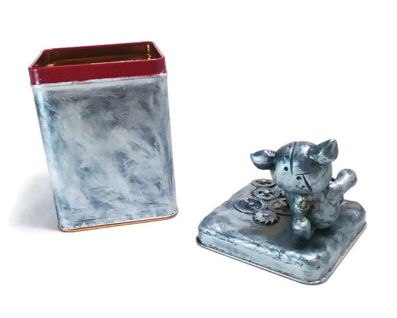 Steampunk Robo Cat Tea Tin  Small Craft Storage Container  Steampunk Box  Tea Storage Container
