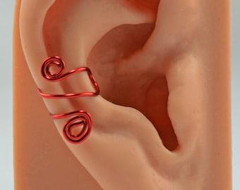 Red Artistic Wire Cartilage Ear Cuff Spiraled Non Pierced