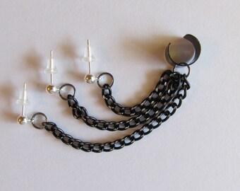 Triple Lobe Piercing Ear Cuff Single Side