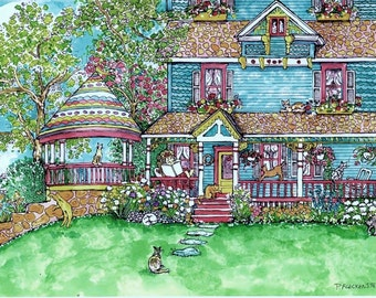 "Art Print of my original Watercolor Art ""House Of Cats"" 8X10 cats-victorian cottage-flowers-whimsical-  handsigned  by Patty Fleckenstein"