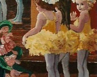 """ACEO mini Print from oroginal acrylic painting-""""Little Yellow Ballerinas"""""""