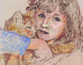 Cat Art ACEO mini print -Gaby Baby Boy