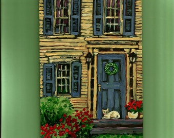 Welcome Cat and Old House Fine Art PRINT of my original acrylic painting,Front Door,Flowers,Yellow,Blue ,handsigned Wall Art,Room Decor
