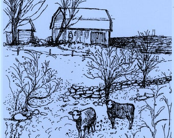 Instant Printable Art,Country Landscape Instant Download,Print of my original pen and ink drawing,Cows,Barn,Farm Scene,Downloadable Art