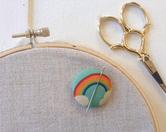 Needleminder,Needle,Minder,Rainbow,Rainbow and Clouds,Gift,Needle Keeper,Embroidery,Needlepoint Supplies,Crossstitch Supplies,Crosstitch
