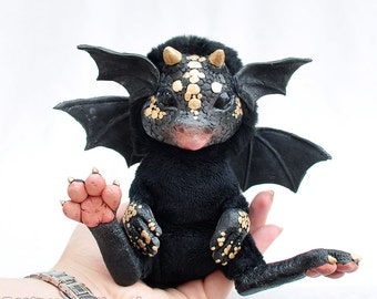 Little Black Dragon Doll - Made to Order