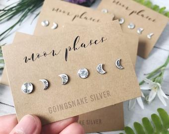 "Moon Phase Earrings Set - Sterling Silver - Handmade Earrings - Post Earrings - Lunar Cycle - Two Sizes Available - 1/4"" - 3/16"""