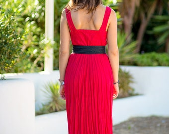 540699f281d Bright Red Midi - Summer Dress in Red 100% Pure Crinkled Linen