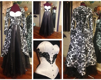 "45% off! One of a kind wedding dress, damask black & white, four pieces, corset, two skirts, coat, hand made, 22"" corseted waist"