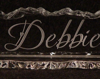 Glass Name Plate with Matching Glass Base