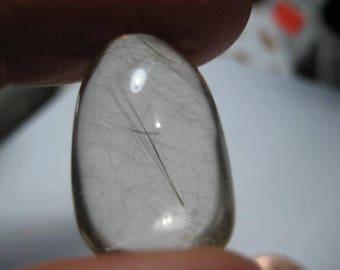 3-D Rutile Quartz  Pear Shape / Drop   ......    22 x 13 x 9 mm ............         B4481