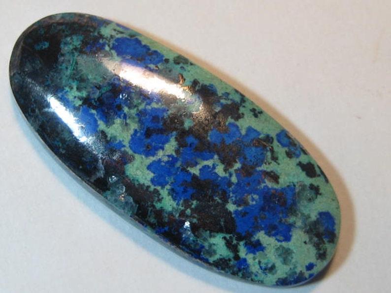 Azurite Chalcocite  cab   .. a4141 47 x 20 x 6 mm   ..
