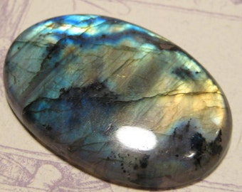 Labradorite cab   .........BIG cab .............          49  x 33 x 7 mm thick ...      3576