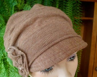 womens hat merino wool light brown hat chemo soft hat cloche flapper chemo gift