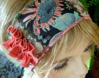 Womens  Headband adult headband hairband soft mesh floral
