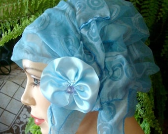 Flapper hat art deco 1920s cloche hat  chemo headcover pale blue