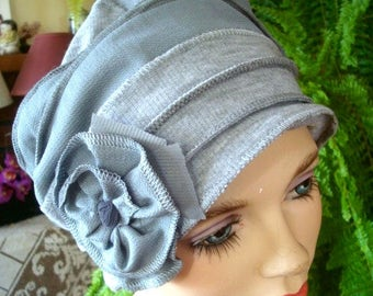 Womens Chemo Hat Chemo Headwear soft Flapper light grey Chemotherapy Alopecia Beanie with Flower