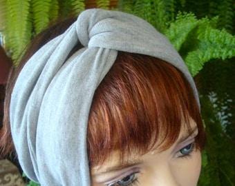 Womens Turban adult Headband pale grey turband wide yoga band workout headwear alopecia