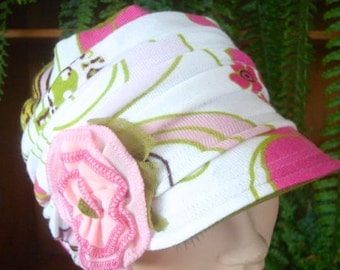 womens hat soft hat chemo headscarf hot pink white cloche flapper chemo gift