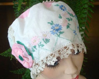 womens hat cloche lace vintage cotton linen doiley embriodered pink blue headcover chemotherapy soft  ooak chemo hat