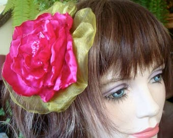 Handmade Fabric Flower Hot Pink Belly dance Satin Flower Clip headband comb Extra Large handmade Rose