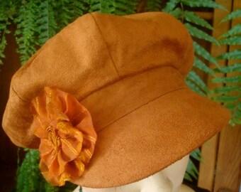 womens hat newsboy peak suede tan peak cap