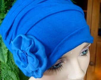 womens hat electric blue hat chemo soft hat cloche flapper chemo gift