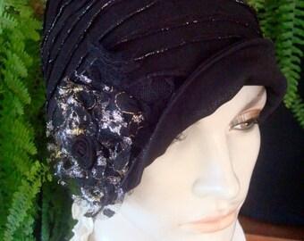 cappello di chemio chemio Womens sera nero e argento morbida maglia chemio  morbido cappello testa cappello copre 9c197749a1a2