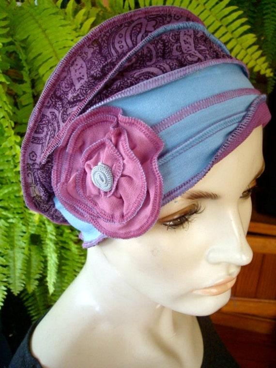 37b20dc5d507 Womens Headband Head wrap head cover Chemo Hat Duck Egg Blue