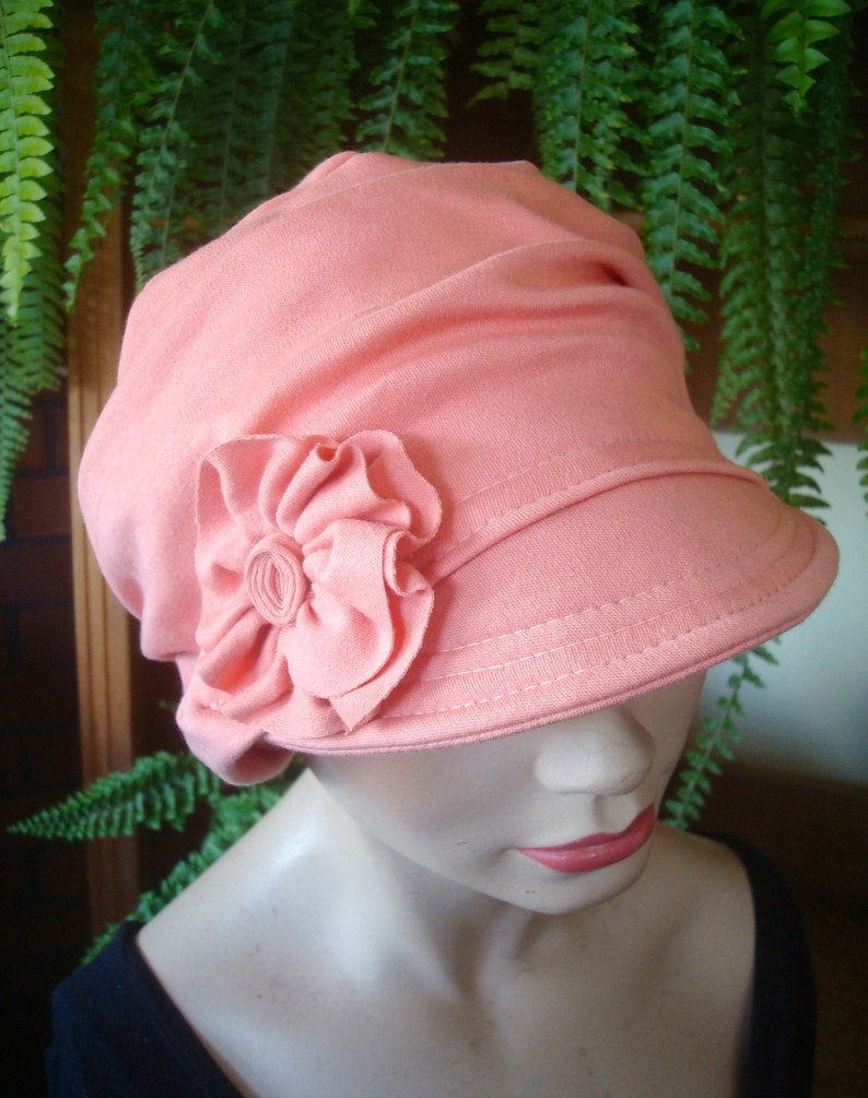 0b1db2fe3d6cd Womens newsboy hat womens peak cap chemo cap cotton knit | Etsy