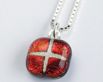 Mosaic pet memorial fused glass pendant -- MINI