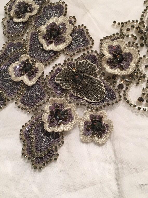 Paillettes et corsage Applique argent Applique de de de fleur en perles argent perlé Applique applique floral grand applique 0fced2