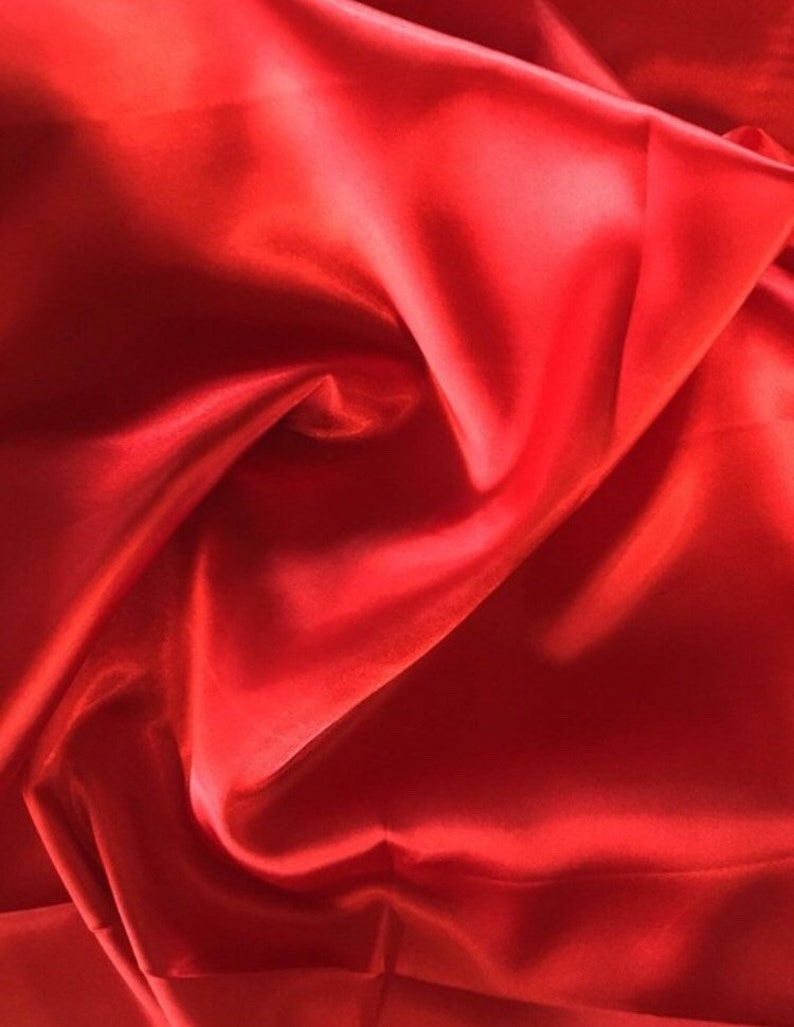 Red Stretch Satin polyester spandex satin fabric shiny stretch satin fabric dress shirt lingerie