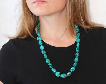 Turquoise statement necklace | Turquoise jewelry | Turquoise beaded necklace | Exceptional Chunky Turquoise necklace | December birthstone
