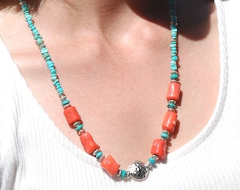 Turquoise and Coral necklace | Coral & Turquoise necklace | Turquoise jewelry | Coral jewlery | Colorful Necklace | Best Statement Necklace