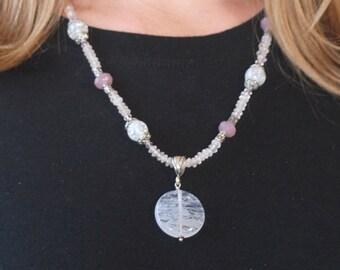 Rose Quartz necklace with Crackle Quartz, Purple Quartz, Lavender Quartz, and Sterling Silver