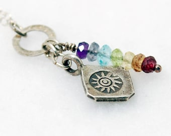 Silver SUN SALUTATION 7 Chakra Necklace | Chakra Stones | Silver Sun necklace | Yoga Jewelry | Chakra Jewelry | Sunlight of the Spirit