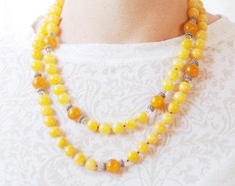 Golden Yellow necklace | Jade necklace | Orange Calcite necklace | Orange necklace | Saffron necklace | Tangerine necklace | Amber necklace