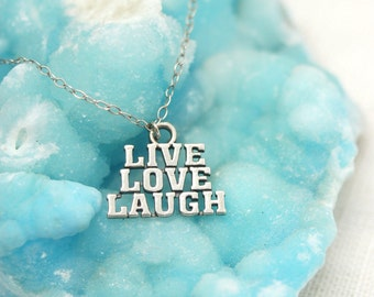Live Love Laugh Sterling Silver charm necklace