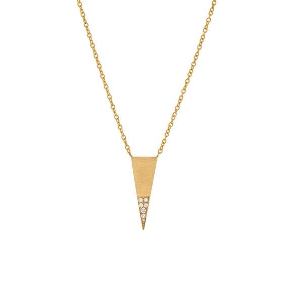 FB Jewels 14K Yellow Gold Triangle 3-Prong 6.5mm Pendant Setting