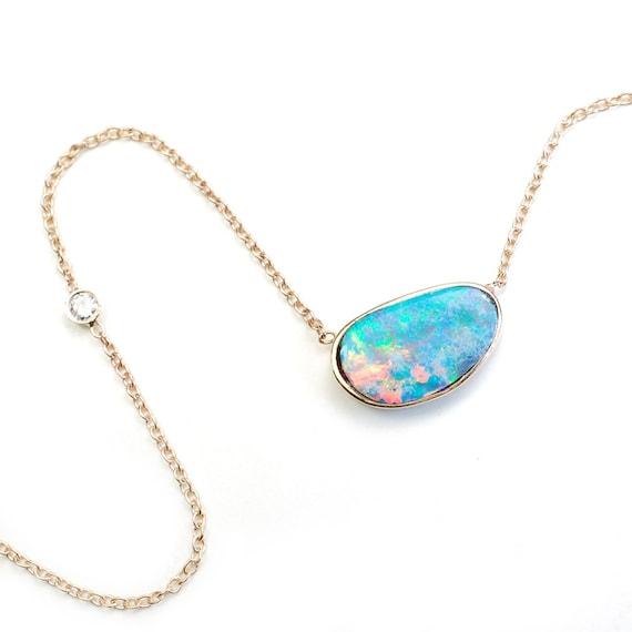 belcher chain light blue colour delicate necklace blue opals Peruvian opal pendant October necklace Opal gemstone dainty accessory