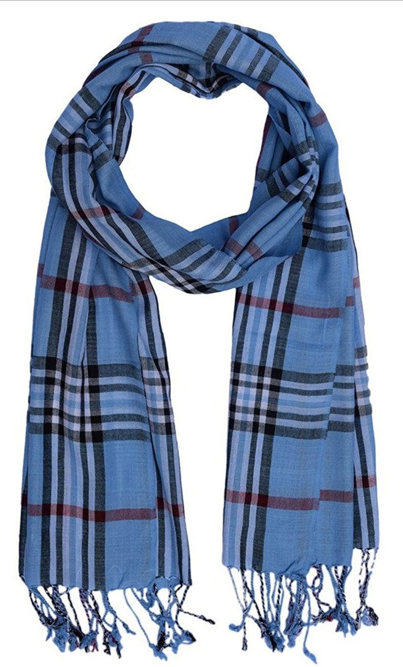 Ayurvastram Silk Feel Viscose Rayon Checks and Stripes Scarf
