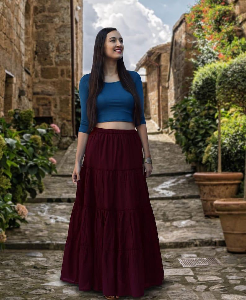 Made to Order Ayurvastram Customizable ELINA Pure Cotton Tiered Long Skirt