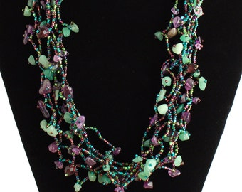 Hand beaded purple amethyst green multistrand necklace, magnetic clasp, 24 inches #105