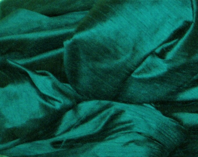 "Peacock Teal Blue 100% dupioni silk fabric yardage By the Yard 45"" wide FREE SHIPPING"