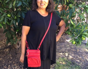 Leather red purse bag Leather purse crossbody fully adjustable strap