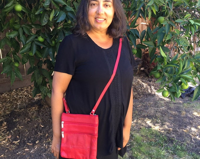 Leather red crossbody purse bag 5 zippered pockets, fully adjustable strap