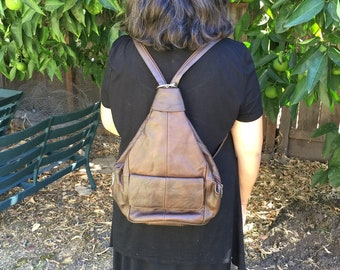 Leather brown backpack purse bag with adjustable strap