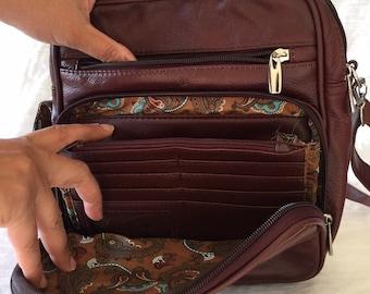 Leather burgundy square purse bag Leather purse crossbody built in wallet, tablet pocket, fully adjustable strap